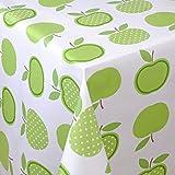 Wachstuch Tischdecke Gartentischdecke mit Fleecerücken Gartentischdecke, Pflegeleicht Schmutzabweisend Abwaschbar Äpfel Grün Weiss 140x 140 cm - Größe wählbar