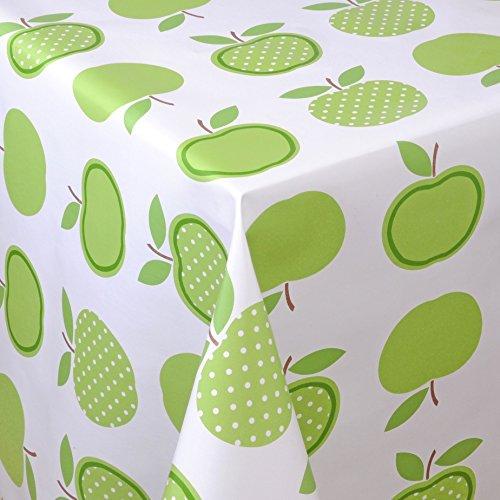 Wachstuch Tischdecke Gartentischdecke mit Fleecerücken Gartentischdecke, Pflegeleicht Schmutzabweisend Abwaschbar Äpfel Grün Weiss 190x 140 cm - Größe wählbar