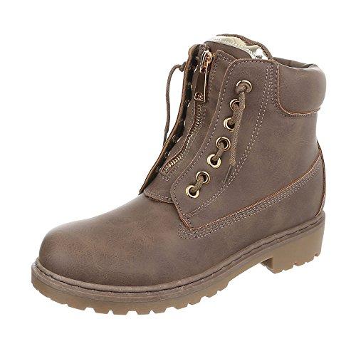 Boot Combat Kostüm - Ital-Design Schnürstiefeletten Damen-Schuhe Combat Boots Pump Schnürer Reißverschluss Stiefeletten Hellbraun, Gr 36, Zy9191-