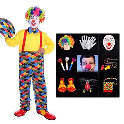 Herren Kostüm Clown Übergröße - LaoZan Halloween Zirkus Clown Kostüm Anzug Jumpsuit Top Umhang Karneval Cosplay Verkleidung Maskerade Faschingskostüme Performance Outfit (Stil7(13Pcs), Asia XL)