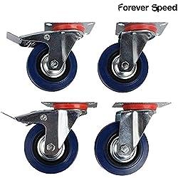 Speed Lot de 4 Roulettes Pivotantes avec Frein 100 mm Charges Lourdes Bleu & Argent