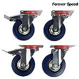 Forever Speed Ruedas Pivotantes de Transporte Ø 100mm Ruedas Giratorias para Carritos Muebles Con 2 Freno Azul Lote de 4 Soportan 70 kg por Rollo