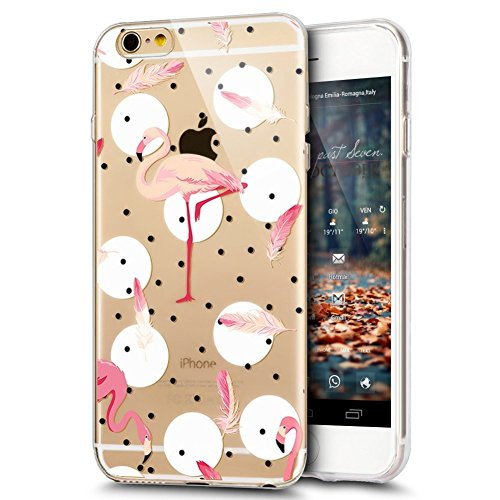 iPhone 6S Plus Custodia, iPhone 6 Plus Cover in Silicone Transparente, JAWSEU Super Sottile Cristallo Chiaro Custodia per Apple iPhone 6 Plus/6S Plus Corpeture Caso Case Antiurto Creativo Disegno Anti Fenicottero #10