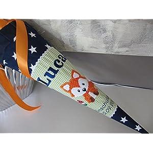 Fuchs grün-blau gesternt Schultüte Stoff + Papprohling + als Kissen verwendbar