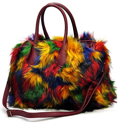 Borsa borsetta pelle eco pelliccia pelo donna multicolore multi colore fantasia passeggio trapuntata donna casual grande grande bauletto elegante mano tracolla giornaliera