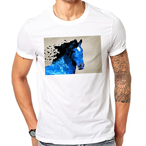 Illuminati Triangle Art Majestic Horse Blue Herren T-Shirt Weiß