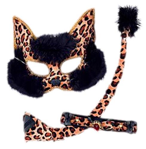 Karnevalskostüm Katzen-Set mit Maske, Schwanz und Halsband, One Size, Braun (Schnell Und Einfach Niedliche Halloween-kostüme)