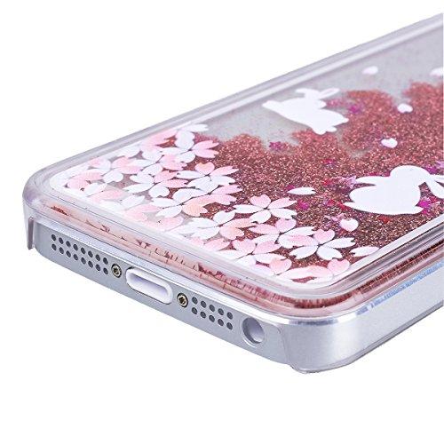 WE LOVE CASE iPhone 5 / 5s / SE Coque, Étui Transparente de Protection en Premium Hard Plastique Dur Housse Liquide et Clair, Bumper Bling Cas Briller Couverture avec Paillette Ecoulement Flottant Mot rose