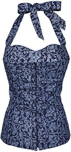 Küstenluder ROSY Vintage Ornament Floral Denim Pin Up Ruffle TOP Rockabilly Jeansblau