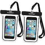 [Certifiée IPX8] Pochette étanche, [2 pièces] iVoler Pochette Sac étanche Universel Waterproof Case Bag Housse Coque Etui pour Apple iPhone 7, 7 Plus,6s / 6, 6s Plus / 6 Plus, SE 5S 5C, Samsung Galaxy S8/S8+/S7/S7 Edge/S6/S6 Edge/Edge+, Note 5/4/3/Edge, Huawei P10/P10 Lite/P9/P9 Lite,ASUS, LG,Sony, Motorola et les Autres Smartphones de Taille Égale et Inférieure à 6'' ou les Monnaies , le Passeport etc, idéal pour natation, la plage, pêche, la randonnée, Garantie de 24 MOIS (Nior)