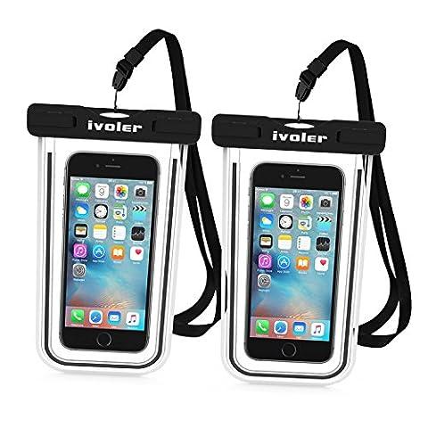 [Certifiée IPX8] Pochette étanche, [2 pièces] iVoler Pochette Sac étanche Universel Waterproof Case Bag Housse Coque Etui pour Apple iPhone 7, 7 Plus,6s / 6, 6s Plus / 6 Plus, SE 5S 5C, Samsung Galaxy S8/S8+/S7/S7 Edge/S6/S6 Edge/Edge+, Note 5/4/3/Edge, Huawei P10/P10 Lite/P9/P9 Lite,ASUS, LG,Sony, Motorola et les Autres Smartphones de Taille Égale et Inférieure à 6