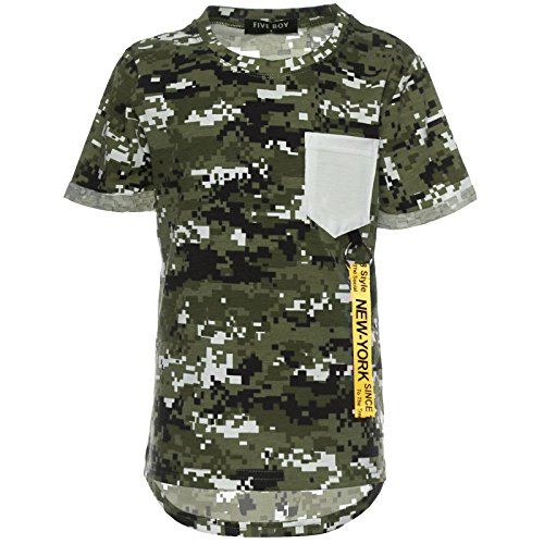 Jungen Camouflage T-Shirt Kurzarm Polo Shirt Stretch Bluse Kinder 21760, Farbe:Grün, Größe:152 (Baumwolle Camouflage T-shirt)