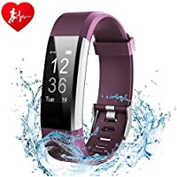 Fitness Tracker, Ginsy Activity Tracker Watch with Slim Touch Screen Wristbands, Wearable Smart Bracelet Pedometer Sleep Monitor for Android and iOS (Purple)