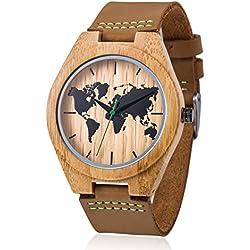 MODUN Reloj de bambú de madera para hombre, Correa de piel genuina de cuero vacuno, Reloj de pulsera de madera natural hecha a mano con movimiento japonés Miyota con caja de regalo (bambú-map)