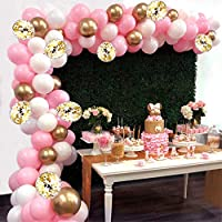 Balloon Garland Kit Arch, AivaToba 6Ft Long 115pcs Pink White Gold Balloons Pack Arch for Girl Birthday Baby Shower Bachelorette Party Wedding Decorations