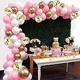 AivaToba Palloncino Kit Ghirlanda Arco, 6Ft Lungo 115 Pezzi Rosa Palloncini Oro Bianco Confezione Arco per Ragazza Compleanno Baby Shower Addio al Nubilato Decorazioni di Nozze