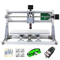 KKmoon DIY CNC Router-Set, 2-in-1, Mini La-ser Gravur, GRBL Kontrolle, 3 Achsen für PCB PVC Kunststoff Acryl Skulptur Holz Fräse Gravur Maschine mit ER11 Schutzbrille