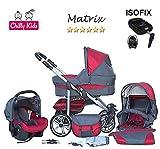 Chilly Kids Matrix II Kinderwagen Safety-Set (Autositz & ISOFIX Basis, Regenschutz, Moskitonetz, Schwenkräder) 04 Rot & Grafit