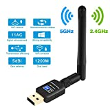 Wifi Adapter Parsion USB Wlan Stick 600Mbit/s mit AC Dualband wireless Adapter (2.4G/150Mbps+5.8G/433Mbps) und Wlan Stick mit Antennenbuchse und abnehmbarer Antenne für Windows Mac Linux