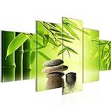 Bilder Feng Shui Steine Wandbild 200 x 100 cm Vlies - Leinwand Bild XXL Format Wandbilder Wohnzimmer Wohnung Deko Kunstdrucke Grün 5 Teilig -100% MADE IN GERMANY - Fertig zum Aufhängen 501951a