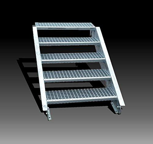 5-stufige Stahltreppe / Stufenbreite 90 cm / Geschosshöhe 70-105 cm / Inklusive Treppenwangen aus U-Profil + Gitterrost-Treppenstufen + Schrauben, Muttern / Wangentreppe Außentreppe Industrietreppe Stufen