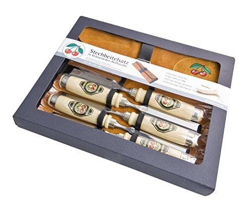 Kirschen 6-teiliger Stechbeitelsatz 1001 mit Weißbuchenheft in Lederrolltasche bestehend aus 6+10+12+16+20+26mm