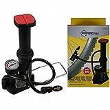 Benson Profi Mini Fußpumpe Fahrradpumpe Bar Anzeige 3 Adapter mit Tasche Radpumpe Manometer