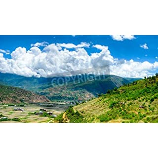adrium Poster-Bild 110 x 60 cm:Panorama view to Paro valley in Bhutan, Bild auf Poster