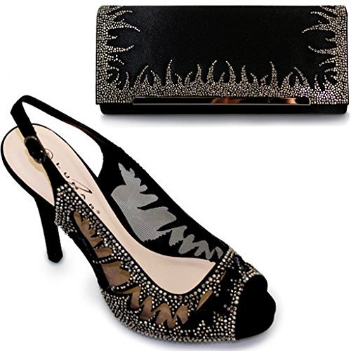Fantasia Boutique femmes bout ouvert élégant diamant maille femmes talon haut chaussures sac à main