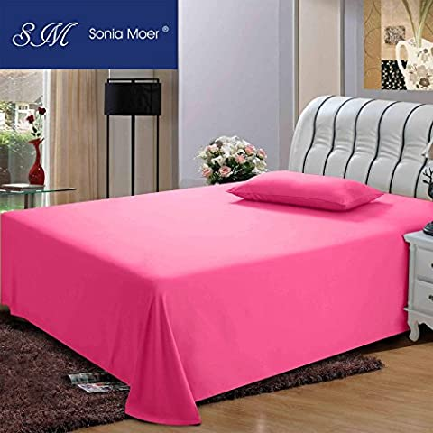 Premium Polycotton 200 Thread Count Flat Sheet by Sonia Moer, (King, Pink)
