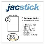 Jacstick 100 Blatt DIN A4 selbstklebende Etiketten. (2 Etiketten / Blatt - 210x148)