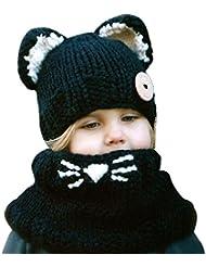 Tongshi Lana de invierno de punto Caps Cat Sombreros Niñas bebés Chales capucha capucha Beanie