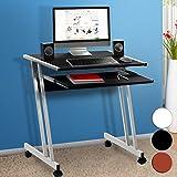 Computertisch in Schwarz mit Aluoptik Farbauswahl Computerwagen Computertisch Bürotisch Schreibtisch PC Tisch Rollbar platzsparend Stahl