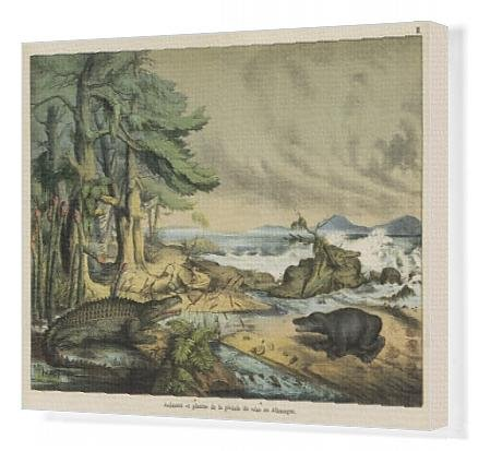 Canvas Print of Animals and plants of the Triassic era