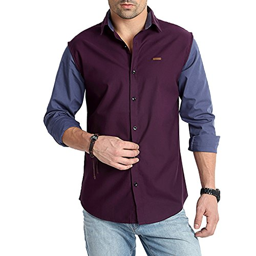 Rodid Men's Solid Casual Purple Shirt (B-RS16C0DP-M)