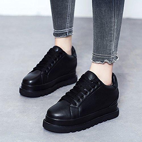 LvYuan Frauen weiße Schuhe / Lackleder / Büro & Karriere / flache Ferse / Comfort Outdoor Casual Mode / Flatform Schuhe / Walking Lace-up Sneakers Black