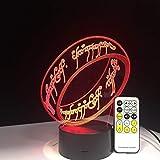 KAIYED Luz Nocturna El Señor de los Anillos Lámpara 3D 7 Colores Regalo para Niños Luz de Noche Táctil para Niños Vacaciones Ilusión 3D Lámpara de Escritorio Película Memoria Presente