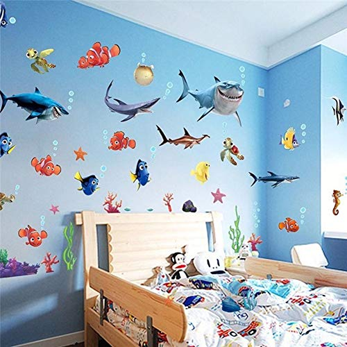 LELTWS Findet Nemo Shark Fisch Wand Aufkleber Kreative Marine Design Traum Bad Wandbild Wand Aufkleber Decals Decor Kid Lustige Aufkleber