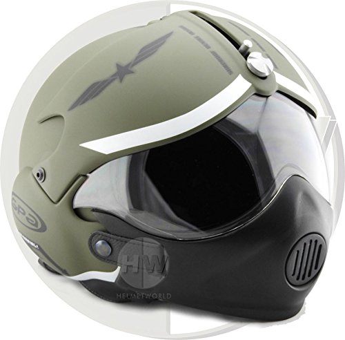 Gpa OPEN FACE SCOOTER HELMET OSBE AIRCRAFT TORNADO GREEN ARMY XXL 63 cm+ with MASK