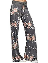 YuanDian Mujer Casual Cordón Impresión Fluidos Anchos Pantalones Palazzo Cintura Alta Dama Amplios Acampanados Pierna Ancha Yoga Pantalon
