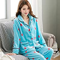WYIKAI Pijamas El Azul Suelto De La Camiseta Mujer Conjuntos Pajama Franela 2Pedazo Pijama Longsleeved Home,XL