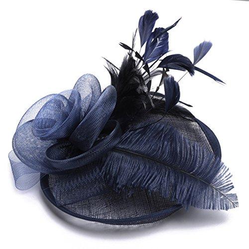 Swallowuk Frauen Mode Elegante Gaze Blume Cocktail Hut Hochzeit Party Hats (Marine)