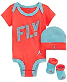Nike Michael Jordan Baby Mädchen, 3-tlg, Fliegen, Body, Hut & Booties, 0-6 Monate