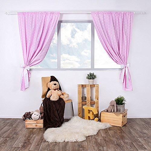 Lulando tendine per la stanza del bambino/tende infantili set (2x) con fusciacca 100% cotone, 155cm x 120cm, oeko-tex standard 100. colore: white stars/pink - 600 g