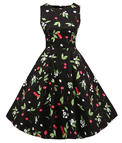 Vintage 1950 vestito da cocktail del vestito da partito picnic Floral Spring Garden Party (S, Black Floral)
