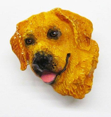Dipinto, motivo: Golden Retriever, colore: marrone chiaro, Pin-Spilla da bavero, DP090PRA