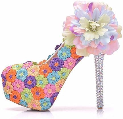 NVXIE Boda Nupcial Zapatos Mujer Zapatillas Cerrado Dedo del pie Plataforma Alto Tacón De Colores Cordón Flores...