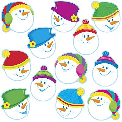 24x Smiley Schneemann Winter/Weihnachten Bild Display Cards (groß) (Schneemann Weihnachts-display)