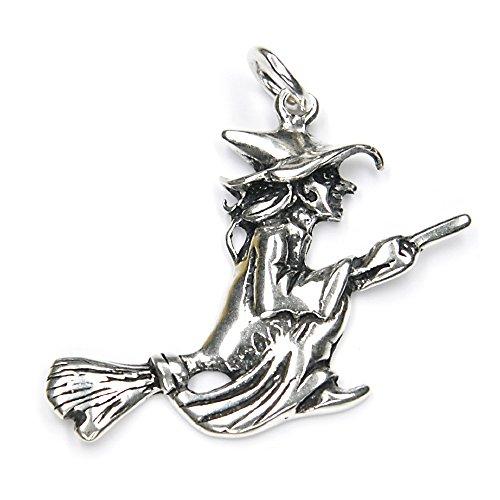 Hexe auf Besen Schmuck Anhänger 925 Silber, Länge mit Öse: 4cm,