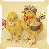 larryeshop Chick Junge Mädchen Candy Eierkorb Blume in Gelb Deko bedruckt Baumwolle Leinen Überwurf Kissen 45,7x 45,7cm Kissen.